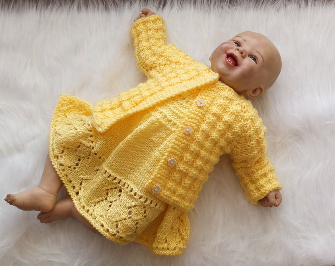 Ready to ship - Knitted baby dress and cardigan - Hand knit dress - Baby Cardigan - Baby Sweater - Yellow Dress - Vintage style baby clothes