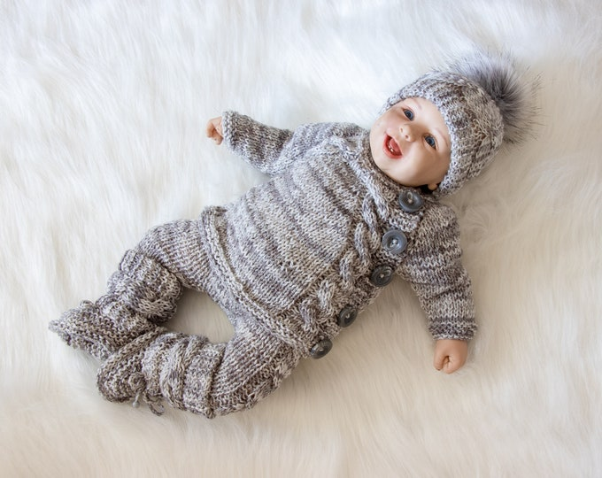 0-3m Hand Knitted Baby boy home coming outfit, Gray outfit, Bring Home Outfit, Take home outfit, Newborn Coming Home Outfit, Ready to ship