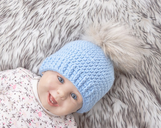 Crochet blue baby boy pom pom beanie, Baby boy hat, Newborn hat, Winter hat, Preemie hat, Baby boy gift, Baby pom pom hat, Toddler beanie