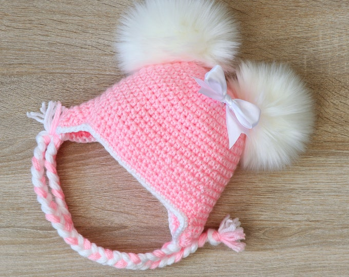 Pink double pom pom hat with bow- Newborn girl hat- Baby girl hat- Earflap hat- Crochet baby hat- Fur pom pom- Winter hat- Toddler girl hat
