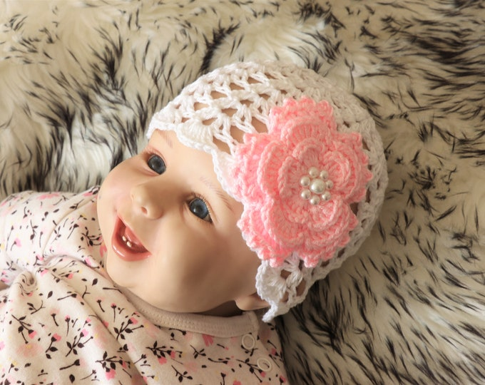 Ready to ship - White Baby girl Hat - White baby beanie - Crochet flower hat - Baby Girl Flower Beanie - Baby girl beanie - Baby Summer hat