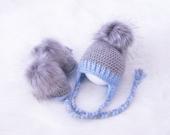 Crochet Baby boy hat and booties set, Fur pom pom hat, Fur booties, Newborn boy winter clothes, Infant booties and hat, Boy Baby shower gift