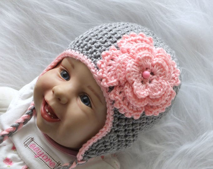 Gray and pink Baby girl flower hat - Gray flower hat - Crochet baby hat - Newborn hat - Earflap hat - Baby girl gift - Baby girl clothes