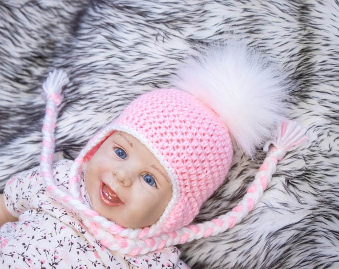 Pink Baby girl with  fur Pom pom, Baby pom hat, Crochet baby girl hat, Newborn girl hat, Earflap hat, Baby winter hat, Preemie girl hat