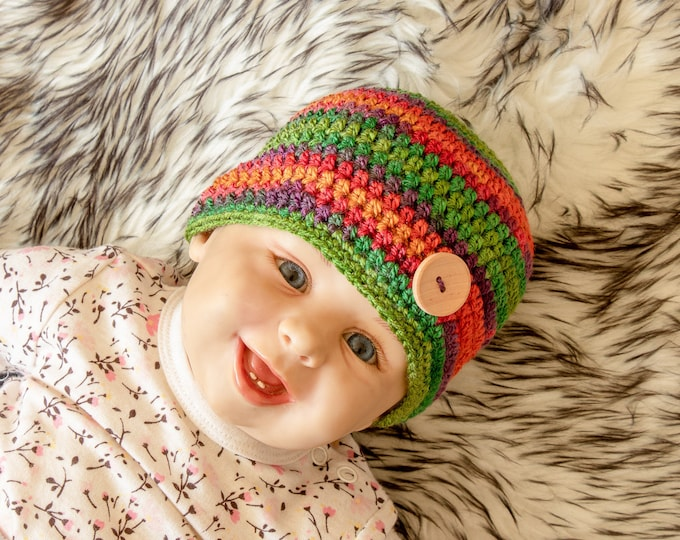 0-3 m Rainbow baby hat, Colorful Baby hat, Crochet Newborn Hat, Baby Beanie, Baby boy Hat, Crochet Baby Hat, Baby boy Beanie, Ready to ship