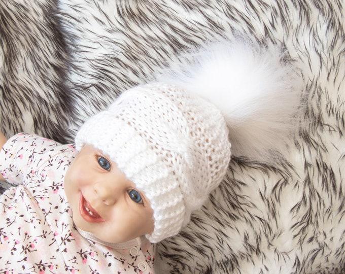 White baby hat, Baby winter hat, Baby hand knitted hat, Knit hat, Fur Pom hat, Neutral baby winter beanie, Newborn hat, Toddler winter hat