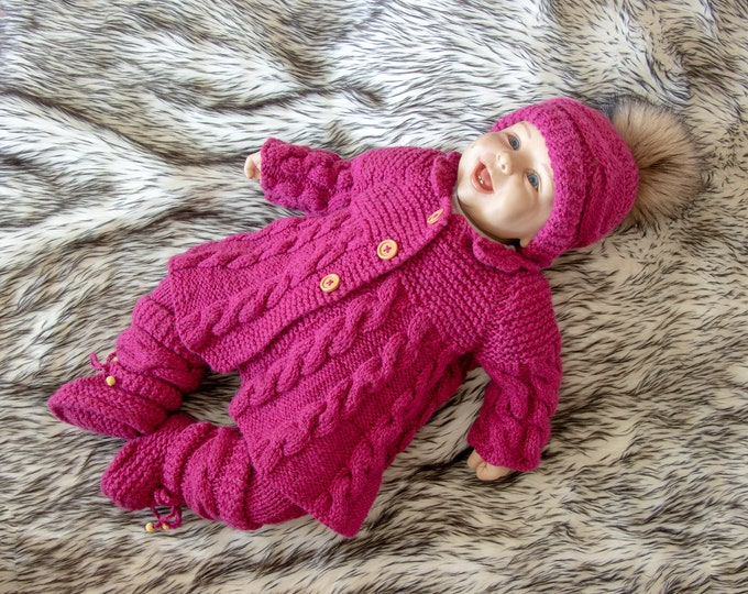 Ready to ship, Baby girl coming home outfit, Knitted Baby girl winter clothes, Knit baby girl outfit, Baby knitwear, Newborn girl outfit