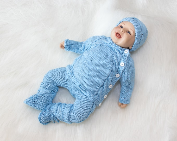 0-3 m baby boy coming home outfit, Baby blue outfit, Hand Knit Newborn take home outfit, Knit baby clothes, Baby boy outfit, Ready to ship