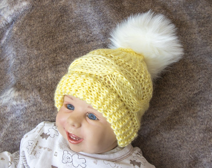 Cable Knit yellow baby hat with faux fur pom pom - Knitted baby winter hat - Hand knit baby Hat - Kids hat - Pom pom hat - Fur pom pom