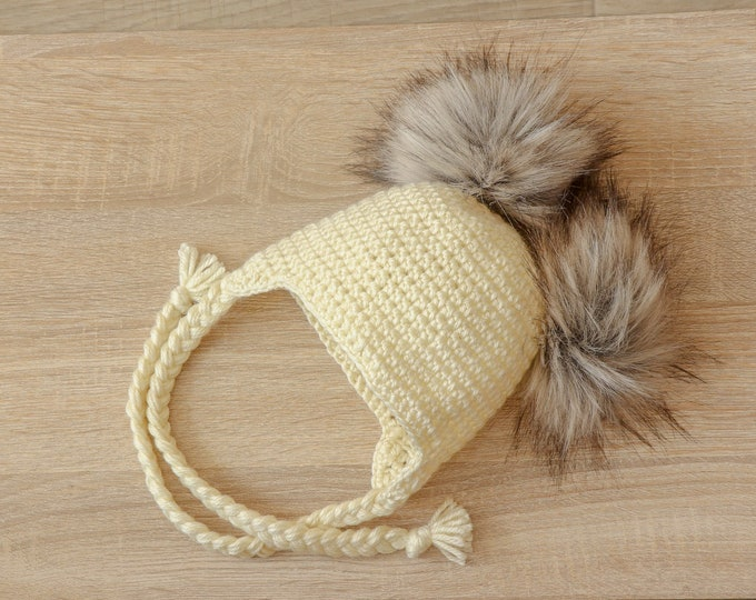 Double pom hat - Newborn hat - Baby hat - Earflap hat - Crochet baby hat - Fur pom pom - Winter hat - Toddler hat - gender neutral hat