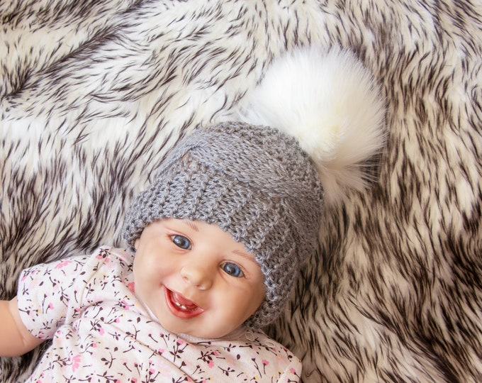 Gray hat with white  faux fur pom pom - Cable knit hat - Hand knitted baby Hat - Kids hat - Baby winter hat - Pom pom hat - Newborn hat