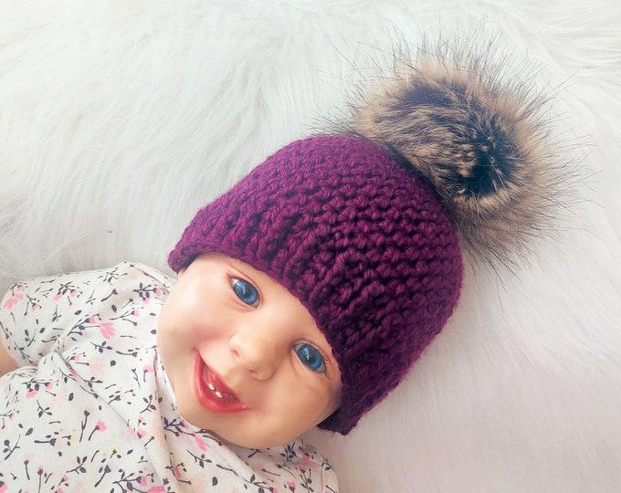 Purple pom pom beanie, Matching family hats, Crochet beanie, Fur pom hat, Gender neutral hat, Winter hat, Baby Hat, Kids hat, Baby beanie