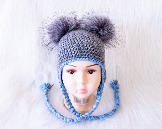Baby boy Double Pom Pom Hat, Baby boy hat, Gray Baby hat, Earflap hat, Crochet Newborn hat, Toddler boy hat, Baby winter hat, Baby boy gift