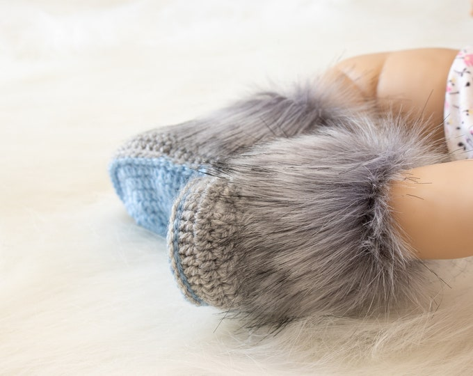 Gray and blue baby boots, Fur Booties, Newborn boy booties, Preemie boy shoes, Baby boy gift, Ugg style Baby winter boots, Newborn booties
