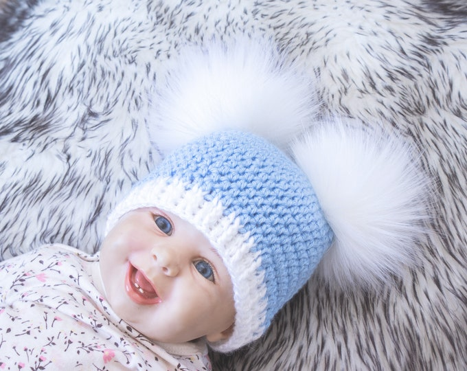 Fur double pom pom beanie, Boys winter hats, Winter beanie hats, baby boy beanies, bobble hat, winter hat, beanie hat, toddler boy beanies
