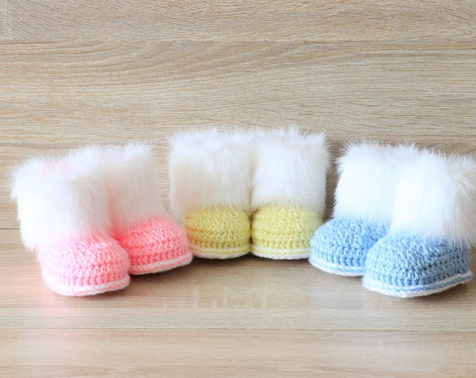 Triplet baby booties - Pink, blue and yellow booties- Crochet baby booties- Newborn boots- Preemie triplets- Fur booties- Triplet baby gift