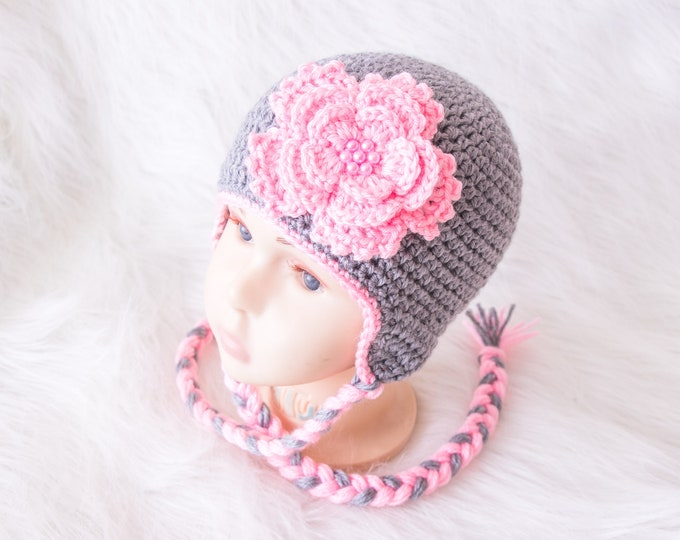 Crochet Gray and pink Baby girl flower hat, Gray flower hat, Baby girl hat, Newborn girl hat, Earflap hat, Baby girl gift, Baby girl clothes
