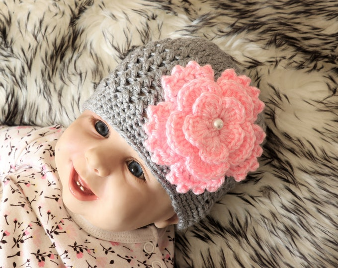 Gray Baby girl Flower hat, Crochet hat, Baby girl Hat, Newborn girl hat, Baby Girl Beanie, Baby girl gift, Gray and pink hat, Preemie hat