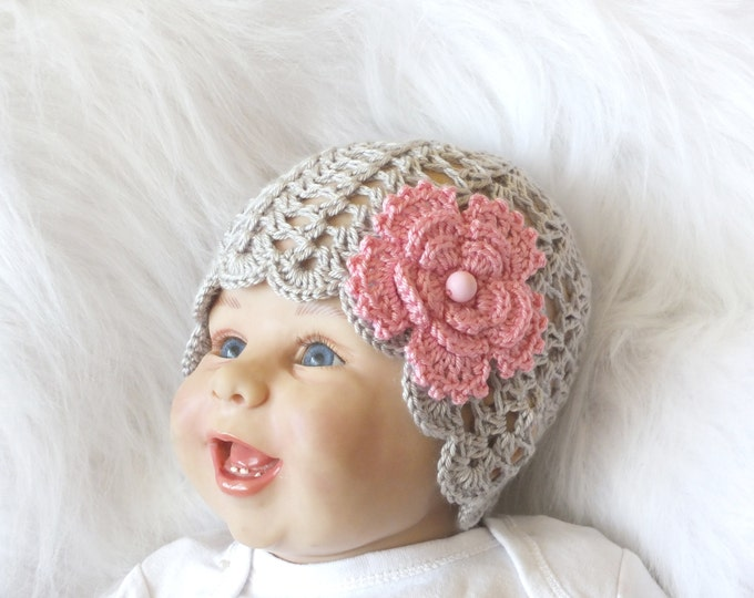 Crochet Baby hat - Baby girl Hat - Baby Flower hat - Newborn hat - Baby Girl Beanie - Gray hat - Photo Prop - Choose from 7 Flower Colors