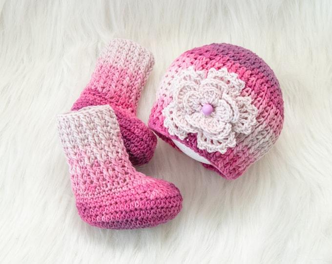 Baby girl flower hat and booties set, Baby girl socks and beanie, Newborn Girl set, Crochet socks and hat, Infant girl Hat and Socks