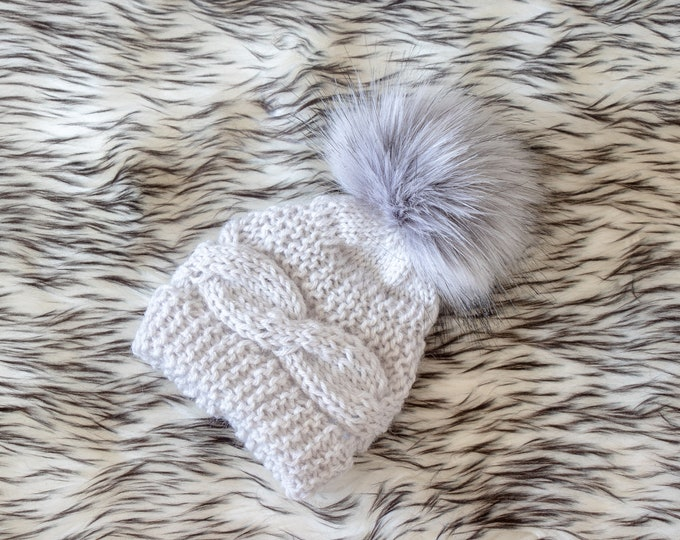 Ready to ship, Baby Boy Hat, Gray hat with fur Pom pom, Knitted Newborn hat, Baby winter hat, Great gift or Photo Prop, Hat for boy or girl