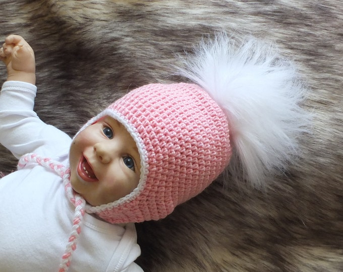 Pink Baby girl with faux fur Pom pom - Baby pom hat - Crochet baby girl hat - newborn girl hat - Earflap hat - Baby winter hat - Fur PomPom