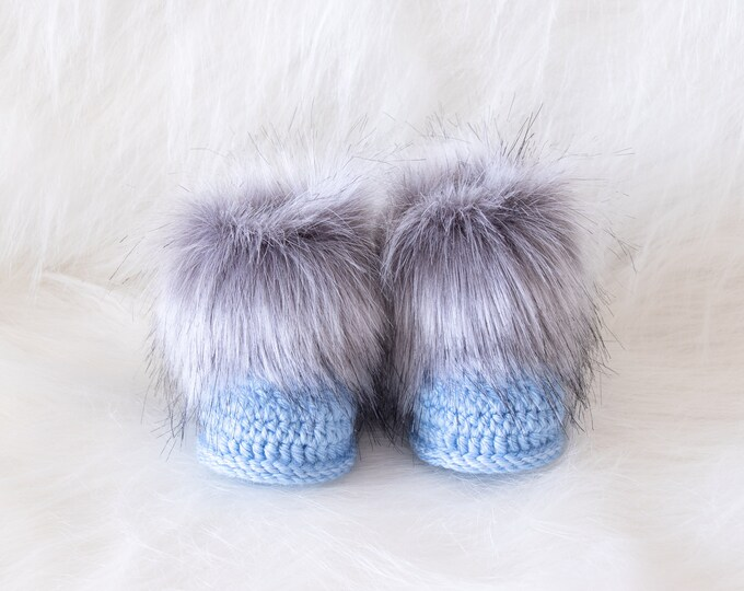 Baby boy booties, Crochet baby Booties, Preemie boy booties, Fur booties, Baby boy shoes, Baby boy gift, Newborn boy booties, New baby gift
