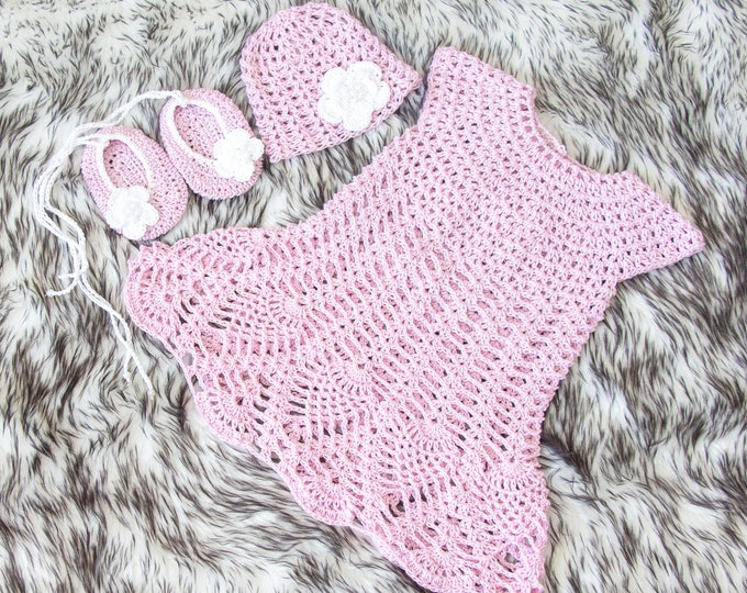 Newborn girl crochet dress, shoes and hat with flowers, Baby Dress Set, Newborn girl summer clothes, Baby girl summer outfit, Ready to ship