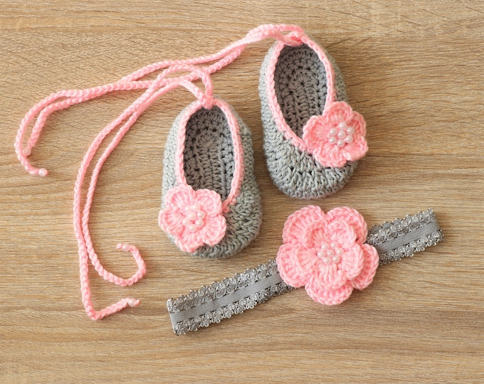 Mary janes and headband set - Shoes and headband set - Baby girl gift - Ballet slippers - Baby girl set -  Baby Photo prop - Pink and gray