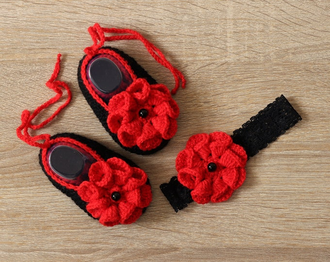 Ready to ship - Baby girl shoes and headband - Black and Red - Ballerina Slippers- Baby headband- Baby gift - Baby girl set- Baby girl gifts