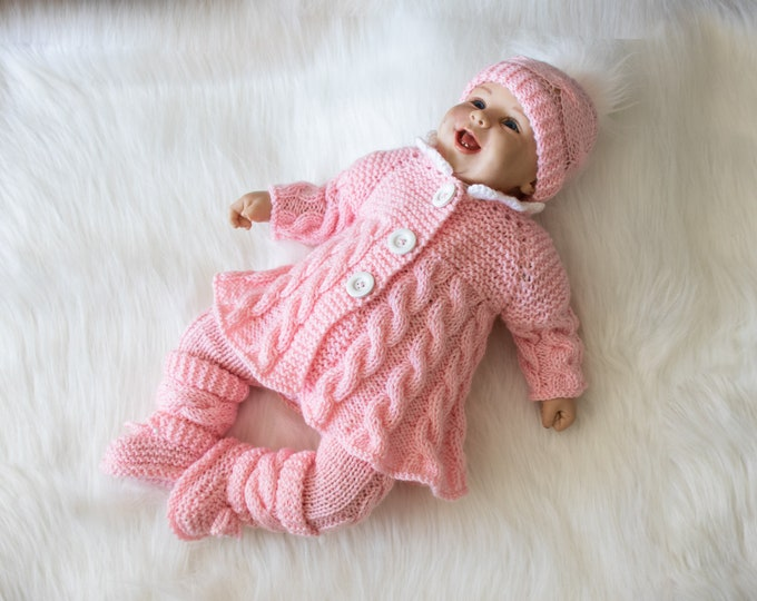 0-3 months Pink baby girl coming home outfit, Baby girl winter clothes, Knit baby clothes, Baby knitwear, Newborn girl outfit, Ready to ship