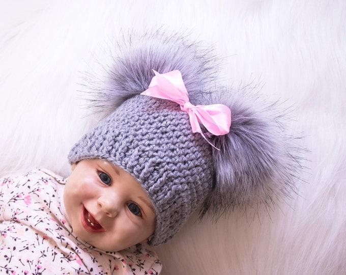 Gray and pink Baby girl double pom pom hat, Preemie hat, Crochet baby girl hat, Newborn girl winter hat, Baby girl gift, Baby girl beanie