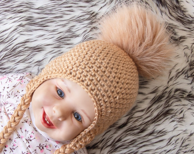 Baby Pom pom hat, Gender neutral hat, Baby winter hat, Preemie hat, Baby earflap hat, Crochet baby hat, Newborn baby hat, Preemie to adult