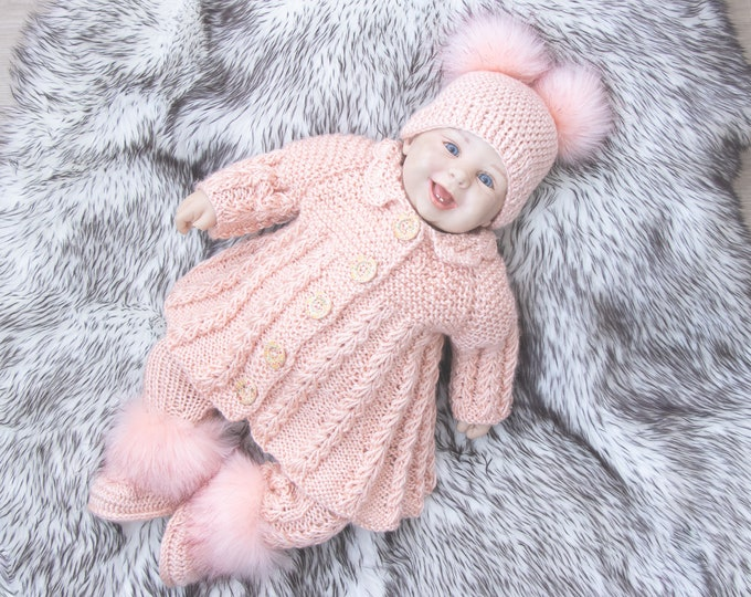 Peach Melba baby girl coming home outfit, Knitted Baby girl winter clothes, Baby knitwear, Newborn girl home coming outfit, Ready to ship
