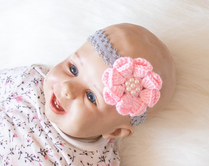 Gray and pink Baby Girl Headband, Flower Headband, Crochet headband, Baby girl gift, Newborn Headband, Baby shower gift, Pink baby headband
