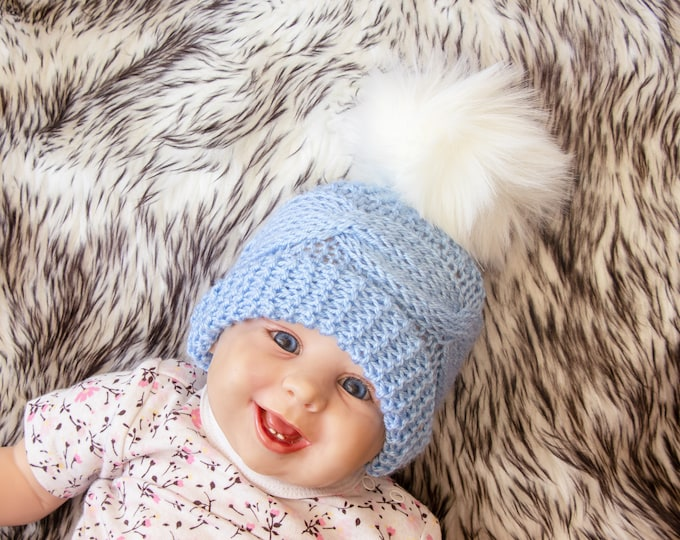 Knitted fur pom pom hat, Blue baby hat, Baby boy hat, Newborn Winter hat, Hand knit Hat, Winter Beanie, Toddler boy hat, Preemie boy hat