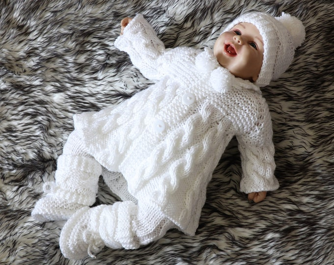 White baby girl coming home outfit - Knitted Baby clothes - Knit baby girl outfit - Baby knitwear - White outfit - Newborn girl clothes