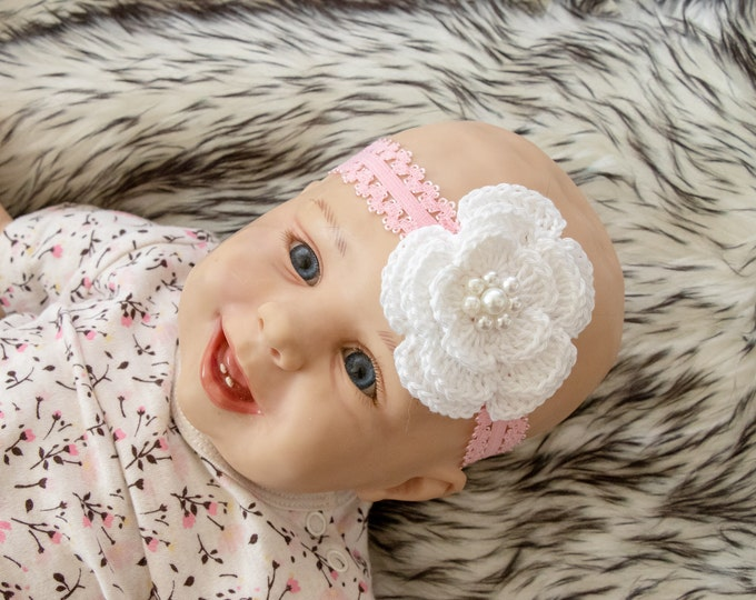 Baby Girl Headband - Crochet headband - Flower headband - Christening - Baptism - Infant Headband - Baby shower gift - Pink baby headband