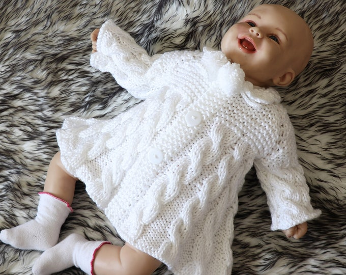 White baby girl coat - Hand knit baby girl sweater - Baby girl cardigan - Hand Knitted sweater - Knitted baby clothes - Baby girl coat