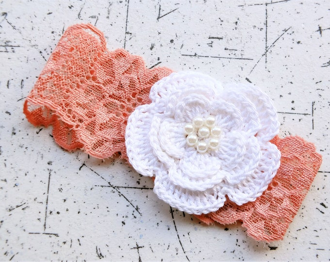 Baby Girl flower Headband - Crochet flower headband -  Peach headband - Newborn Photo Prop - Baby Head Wrap - Infant Headband - Baby gift