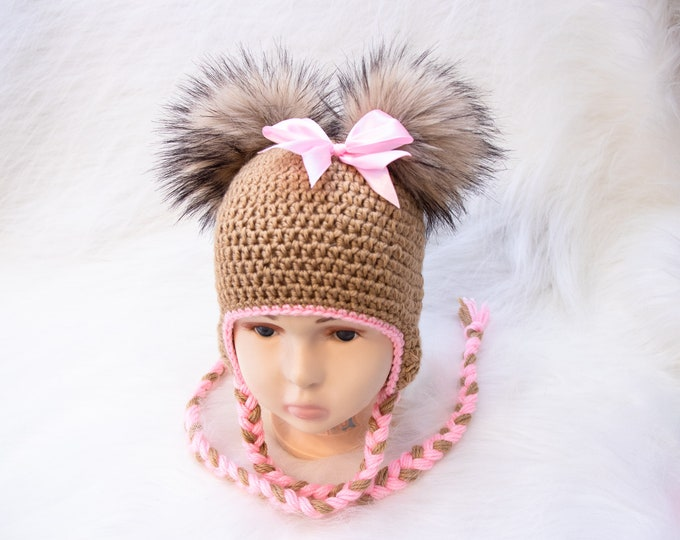 Double pom hat with bow, Newborn girl hat, Baby girl hat, Earflap girls hat, Crochet hat, Fur pom hat, Kids Winter hat, Toddler girl hat,
