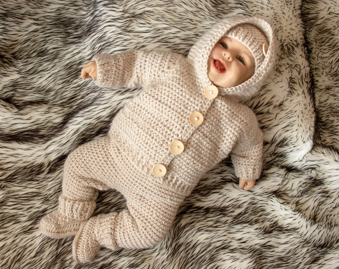 Gender neutral Baby home coming outfit - Baby boy outfit - Beige baby outfit - Newborn take home outfit - Crochet baby Set- Baby shower gif