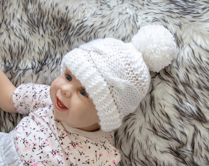 White baby hat, Baby Hand knitted hat, Cable knit hat, Baby winter hat, Pom pom baby hat, Hand Knit baby hat, Unisex baby hat, Newborn hat