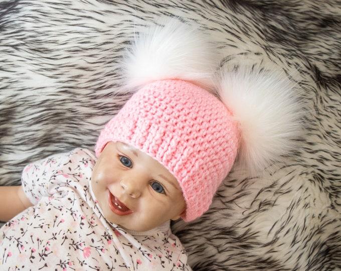 Pink Baby girl double pom pom beanie, Fur pom pom hat, Newborn girl hat, Preemie girl hat, Baby girl Winter hat, Kids hat, Toddler girl hat