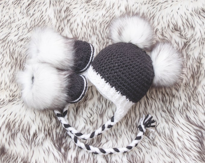 Black and White double pom pom hat and booties, Crochet booties and hat, Neutral Baby winter clothes, Fur booties, Fur pom hat, Newborn set