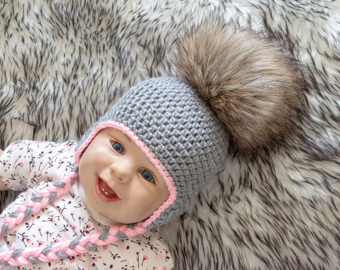 Gray baby girl pom pom hat, Baby girl earflap hat, Crochet baby hat, Newborn girl hat, Preemie girl hat, Baby winter hat, Toddler girl hat