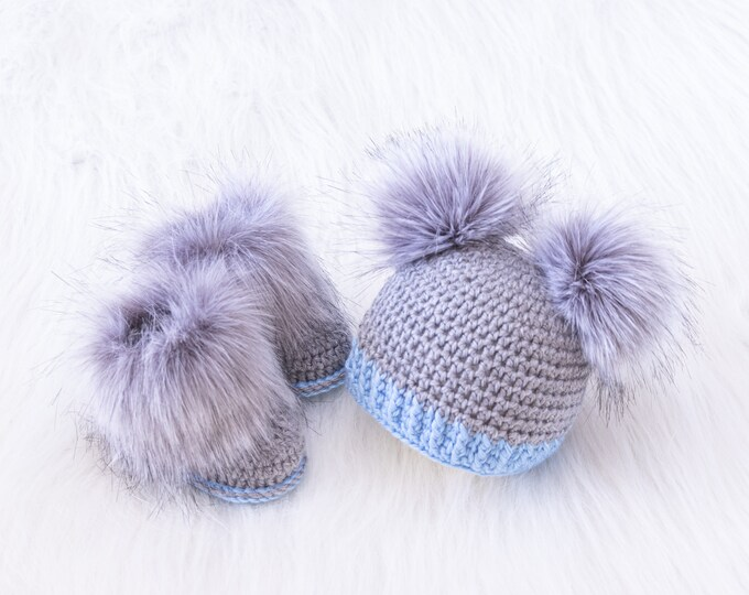 Faux fur double pom pom hat and fur booties, Crochet Infant booties and hat, Newborn boy, Preemie gift, Baby boy gift, Baby boy announcement