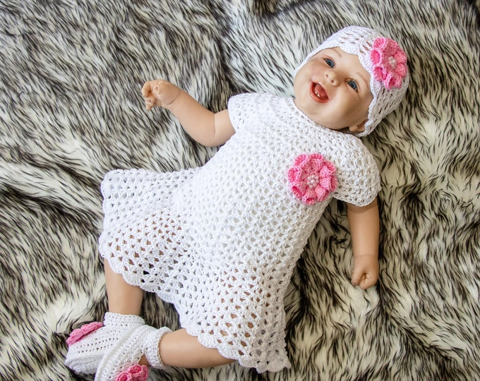 Crochet Baby Dress Set -  White Baby girl summer clothes - Baby girl dress - Shoes and hat with flowers - Baby girl summer outfit