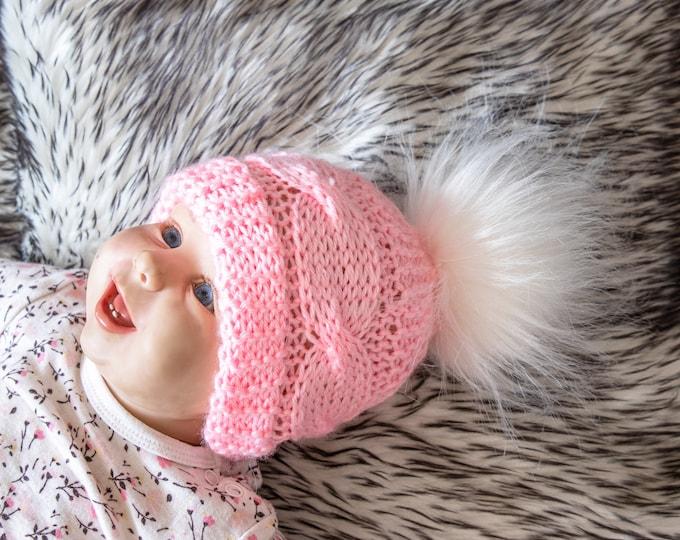 Pink baby winter hat, Newborn girl hat, Preemie girl hat, Hand knit Hat, Baby girl winter hat, Baby knitwear, Knitted baby girl pom pom hat