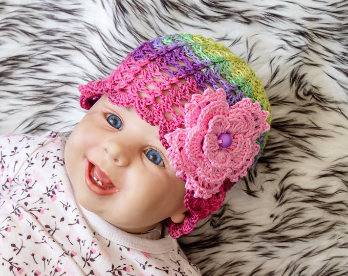 0-3 m Baby girl summer hat, Newborn girl hat, Crochet Flower hat, Baby girl beanie, Colorful flower hat, Infant girl hat, Ready to ship